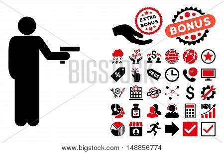 Robber With Gun icon with bonus pictures. Vector illustration style is flat iconic bicolor symbols, intensive red and black colors, white background.