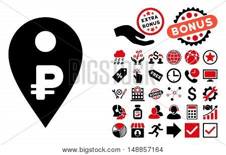 Rouble Map Marker icon with bonus elements. Vector illustration style is flat iconic bicolor symbols, intensive red and black colors, white background.