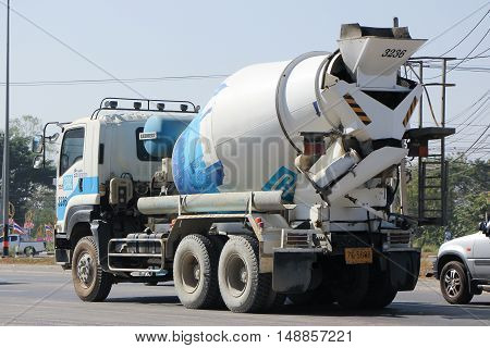 CHIANG MAI, THAILAND - JANUARY 6 2015:  Concrete truck of CPAC Concrete product company. Photo at road no.121 about 8 km from downtown Chiangmai, thailand.