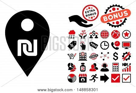 Shekel Map Marker pictograph with bonus clip art. Vector illustration style is flat iconic bicolor symbols, intensive red and black colors, white background.