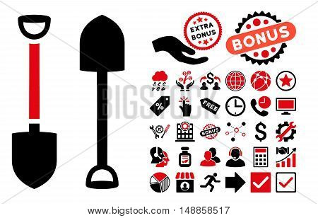 Shovel pictograph with bonus symbols. Vector illustration style is flat iconic bicolor symbols, intensive red and black colors, white background.