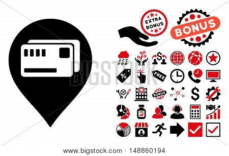 Tickets Map Marker icon with bonus images. Vector illustration style is flat iconic bicolor symbols, intensive red and black colors, white background.
