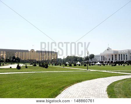 Tashkent Uzbekistan - August 30 2007: Cabinet of Ministers and Senate of Uzbekistan on the Independence Square.