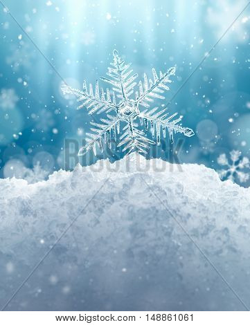 Macro snowflake and fallen defocused snowflakes on blue background - 3D Rendering