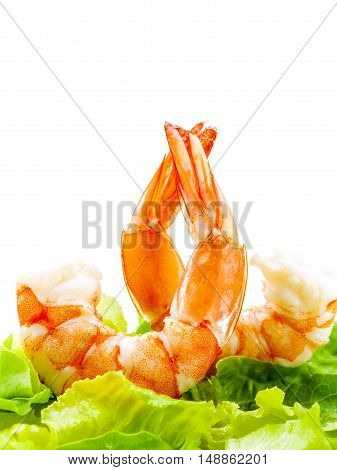 Fresh Steamed  Prawns With Mixed Vegetable Salad Isolate On White Background. Boiled Shrimp With Mix