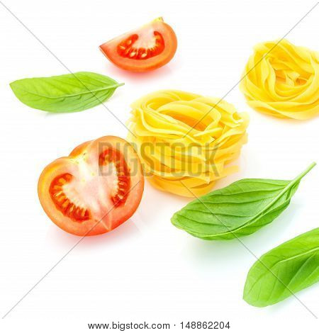 Italian Food Concept Fettuccine With Tomato And Sweet Basil Isolate On White Background..fettuccine