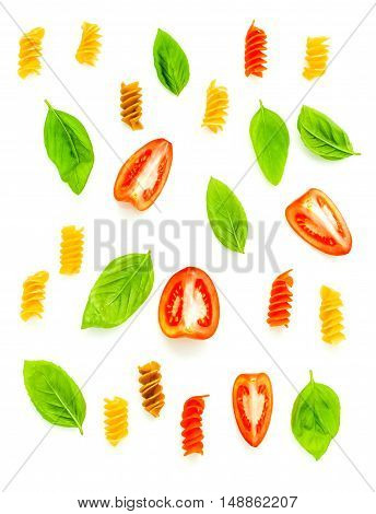 Italian Food Concept Fusilli With Tomato And Sweet Basil Isolate On White Background. Fusilli And In