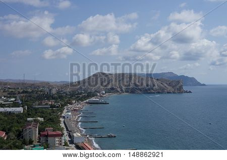 View On City Sudak And Black Sea Bay From Genoese Fortress, Crimea, Russia, Ukraine