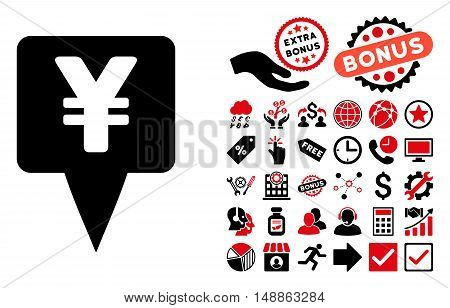Yen Map Pointer pictograph with bonus pictogram. Vector illustration style is flat iconic bicolor symbols, intensive red and black colors, white background.
