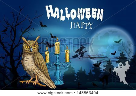Happy Halloween dark greeting card with vector elements of full moon night, black haunted forest, night owl and flying bats with spooky ghost, witch on broom