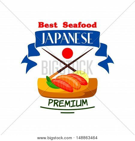 Japanese cuisine icon. Sushi set, salmon fish, wasabi, chopsticks, lemon lobules, blue ribbon, japan flag elements. Premium quality food label template for restaurant menu, advertising sticker, signboard, poster