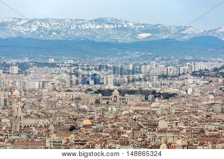 Marseille aerial view from Notre Dame de la Garde in Marseille France