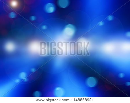 Blue light and circles abstract background blur
