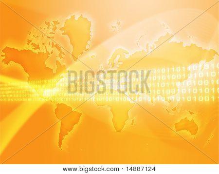Digital data transfer, over world map illustration