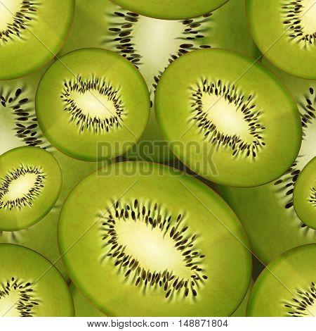 Slices of bright juicy kiwi fruity seamless pattern