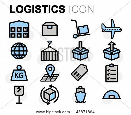 Vector flat line logistics icons set on white background