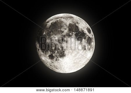 Full super moon over dark black sky at night taken on 18 august 2016. Full moon background. Phase of the moon, full moon. Highly detailed photo of the bright full moon in the night sky