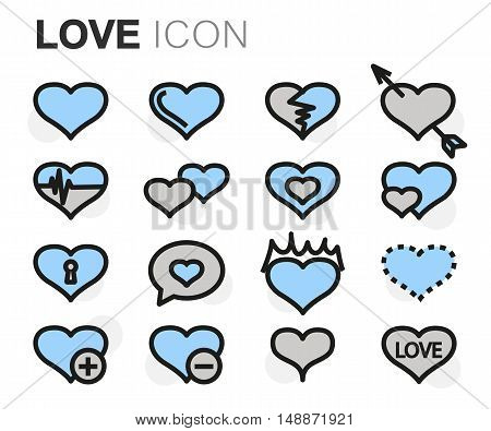 Vector flat line love icons set on white background