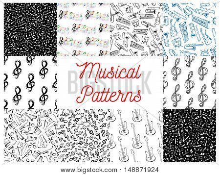 Musical notes and instruments pattern backgrounds. Seamless wallpapers with vector doodle sketch music icons of treble clef, stave, piano, saxophone, harp, drums, maracas, guitar, violin, trumpet, guitar, harmonic accordion