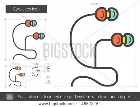 Earpieces vector line icon isolated on white background. Earpieces line icon for infographic, website or app. Scalable icon designed on a grid system.