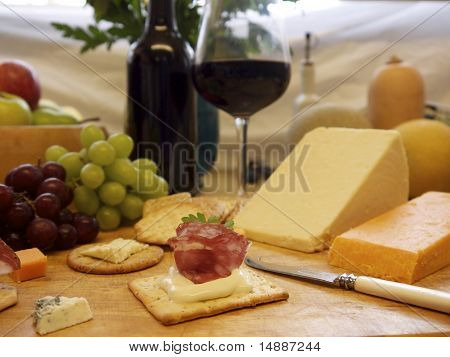 Selection Of Cheese And Crackers