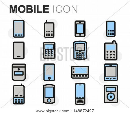 Vector flat line mobile icons set on white background
