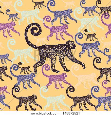 Linocut tropical Jungle Monkey background. Vector Illustrated Jungle Monkeys seamless pattern.