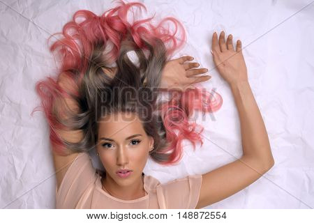 Portrait of a beautiful girl with dyed hair professional hair colouring