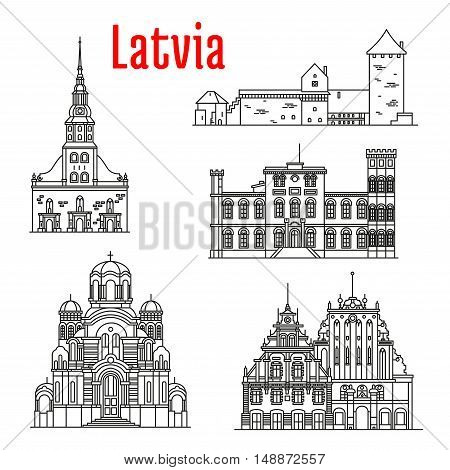 Historic architecture landmarks, sightseeings, famous showplaces of Latvia. Vector thin line icons of St. Peter Church, Turaida Castle, Birini Palace, Nativity of Christ Cathedral, House of Blackheads for souvenir decoration elements