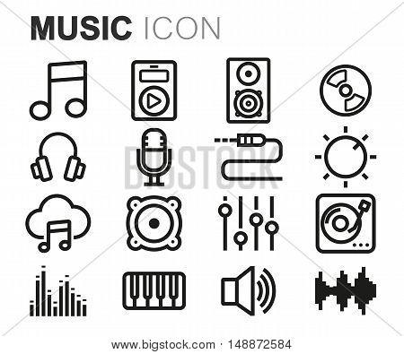 Vector black line music icons set on white background