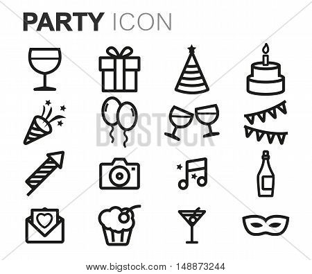 Vector black line party icons set on white background