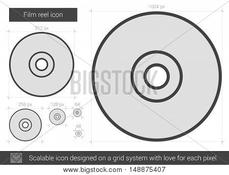 Film reel vector line icon isolated on white background. Film reel line icon for infographic, website or app. Scalable icon designed on a grid system.