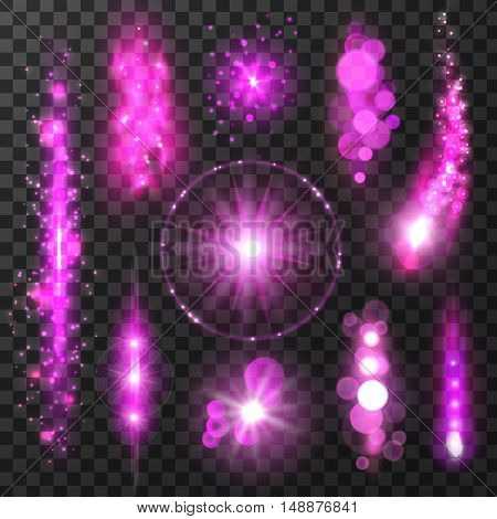 Purple sparkling light trails. Sparkling glitter flashes. Shining particles with lens flare effect on transparent background