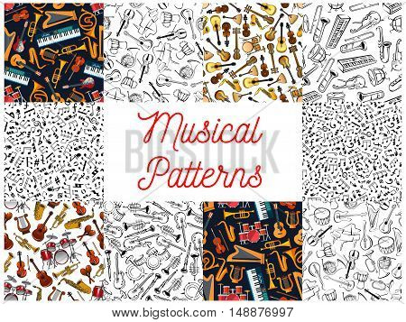 Musical instruments and notes pattern backgrounds. Seamless wallpapers with vector doodle sketch music icons of treble clef, stave, piano, saxophone, harp, drums, guitar, balalaika, accordion, violin, trumpet, guitar harmonic