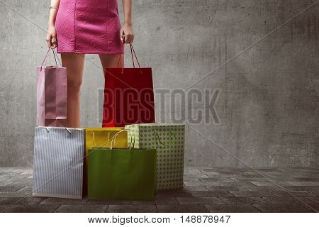 Asian Woman With Many Shopping Bags