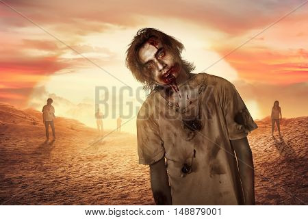 Zombie Man Walking In The Dessert
