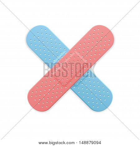 Aid Band Plaster Strip Medical Patch Color Cross. Vector illustration