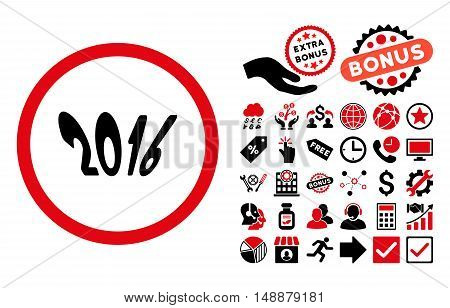 2016 Year pictograph with bonus design elements. Glyph illustration style is flat iconic bicolor symbols, intensive red and black colors, white background.