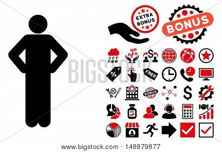 Akimbo Pose pictograph with bonus icon set. Glyph illustration style is flat iconic bicolor symbols, intensive red and black colors, white background.