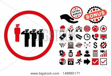 Army Squad icon with bonus pictures. Glyph illustration style is flat iconic bicolor symbols, intensive red and black colors, white background.