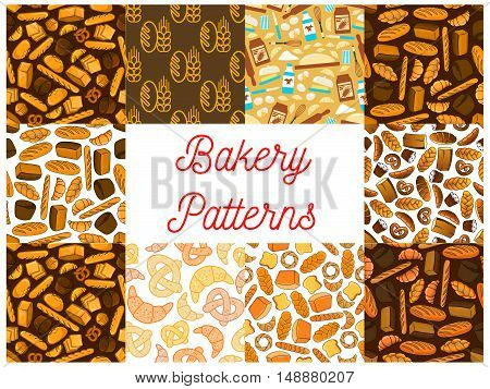 Bakery and baking seamless backgrounds. Wallpapers with vector icons of bread, croissant, bread, baguette, muffin, bun, loaf, pretzel, bagel, pie, flour dough cake cupcake milk whisk milk bottle