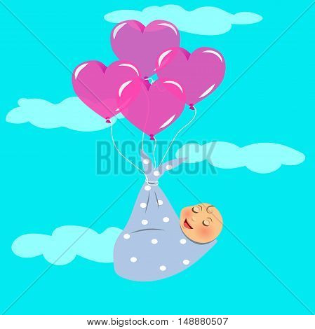 High quality original trendy vector illustration of a Newborn Fly with Balloon
