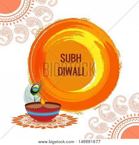 Elegant Greeting Card decorated with illuminated oil lamp (Diya) and floral design for Indian Festival of Lights, Shubh Diwali (Happy Diwali) celebration.