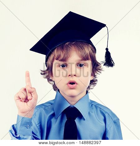 Little professor in academic hat on a light background gently toned