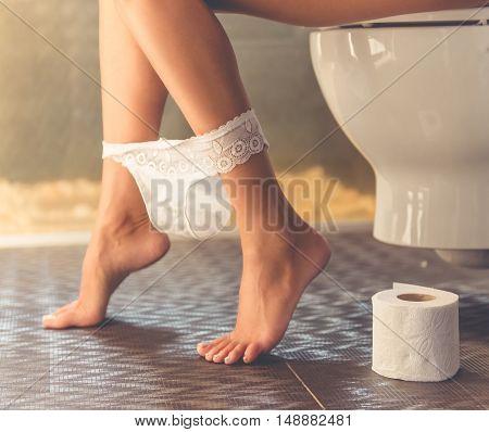 Beautiful Woman In Toilet