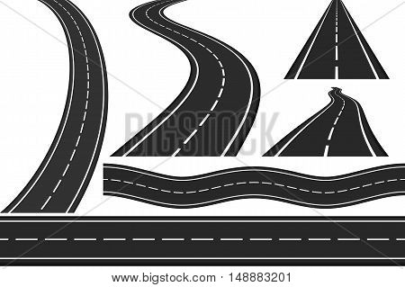 Set of new asphalt roads, vertical and horizontal roads, highway, vector eps10 illustration