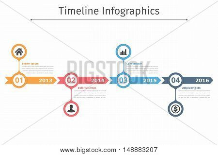 Timeline infographics template with arrows, flowchart workflow or process infographics, vector eps10 illustration
