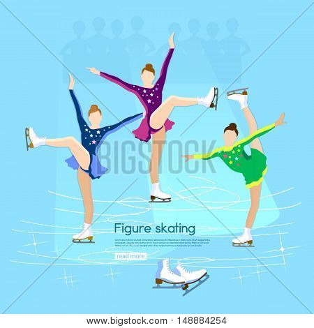 Figure skating ice dancing winter sport cute girl training on the ice vector illustration