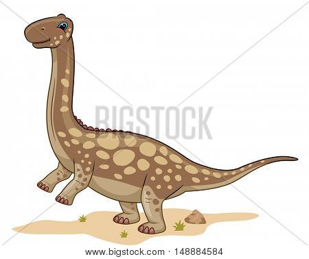 Animal Illustration Featuring a Cute Argentinosaurus Roaming Around the Desert