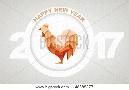 Origami Silhouette Of Red Cock Or Chicken. Happy New Year Card 2017